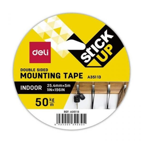 """DELI A35113 MOUNTING TAPE 1""""x5M"""