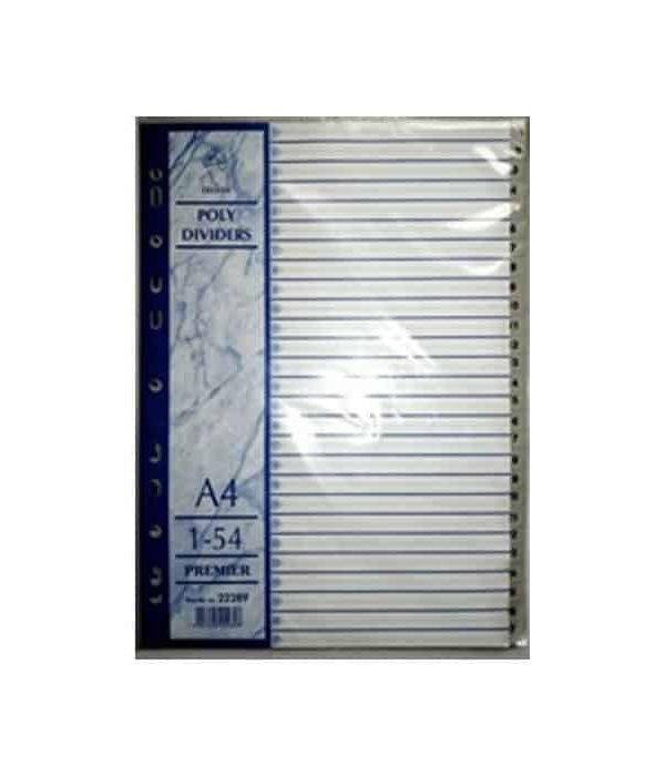 PVC File divider Nos 1-54 Grey